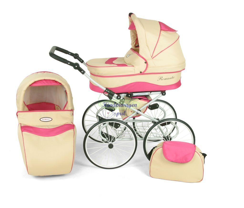 Kinderwagen crème - roze<br /> Prijs: € 549,00