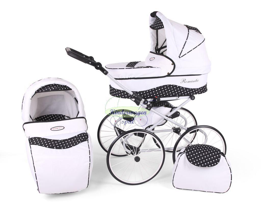 Kinderwagen wit - witte stip<br /> Prijs: € 549,00