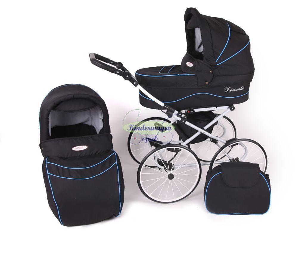 Kinderwagen zwart - blauwe bies<br /> Prijs: € 549,00